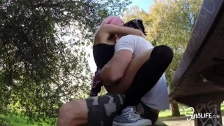 SinsLife –  School Girl Quickie Fuck and Swallow in Public Park